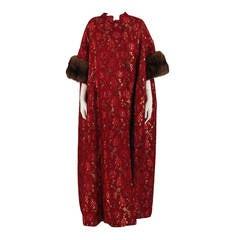 1960s Matlin silk brocade evening coat with sable cuffs winter wedding