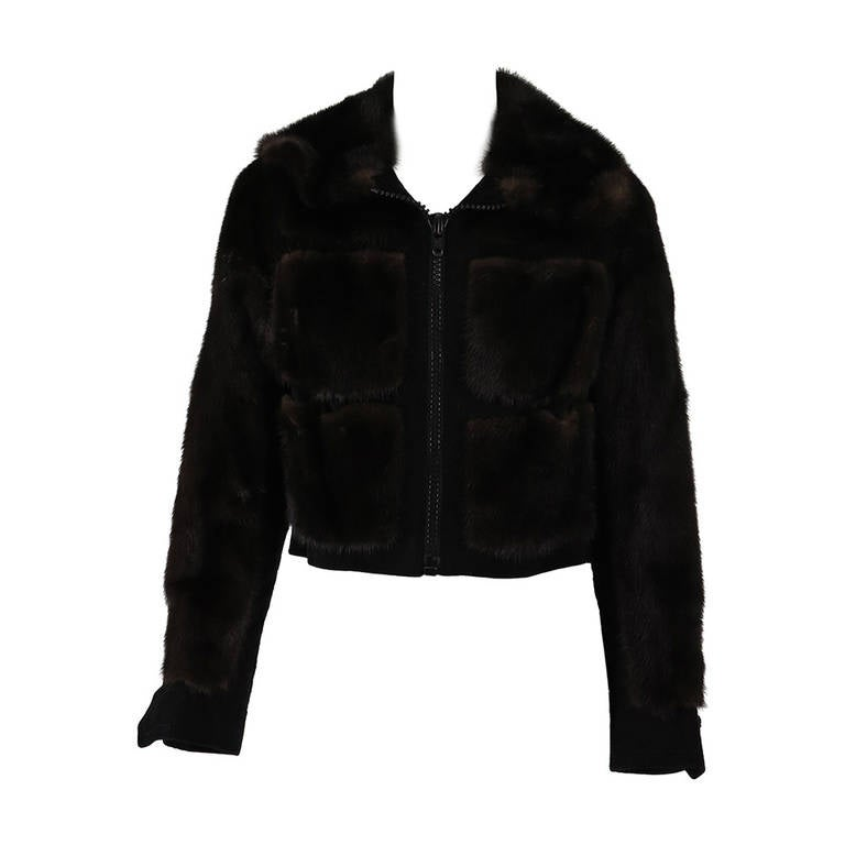1970s BIRGER CHRISTENSEN black mink & suede cropped fur jacket 1