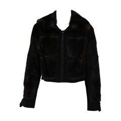 1970s BIRGER CHRISTENSEN black mink & suede cropped fur jacket