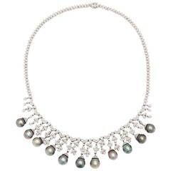 Tahitian Black Pearl Diamond Fringe Necklace
