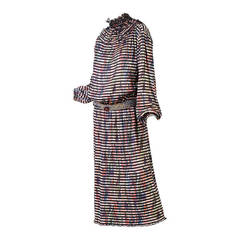 1980s Missoni Multicolored Dress with Matching Ruffle Collar and Belt