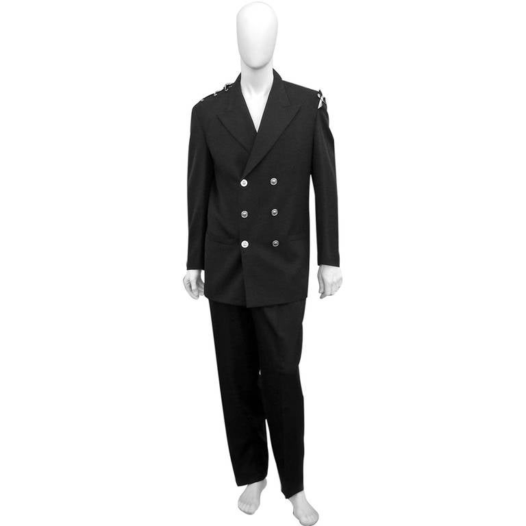 Rare Iconic 1994 Gianni Versace Men's Safety Pin Suit For Sale