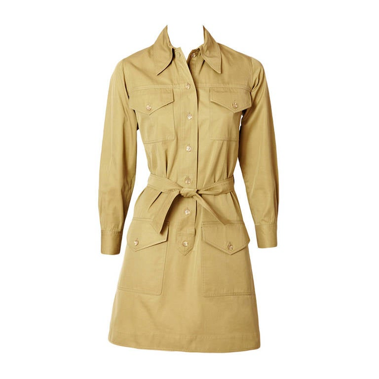 1970's Yves Saint Laurent Safari style khaki  tunic mini dress For Sale