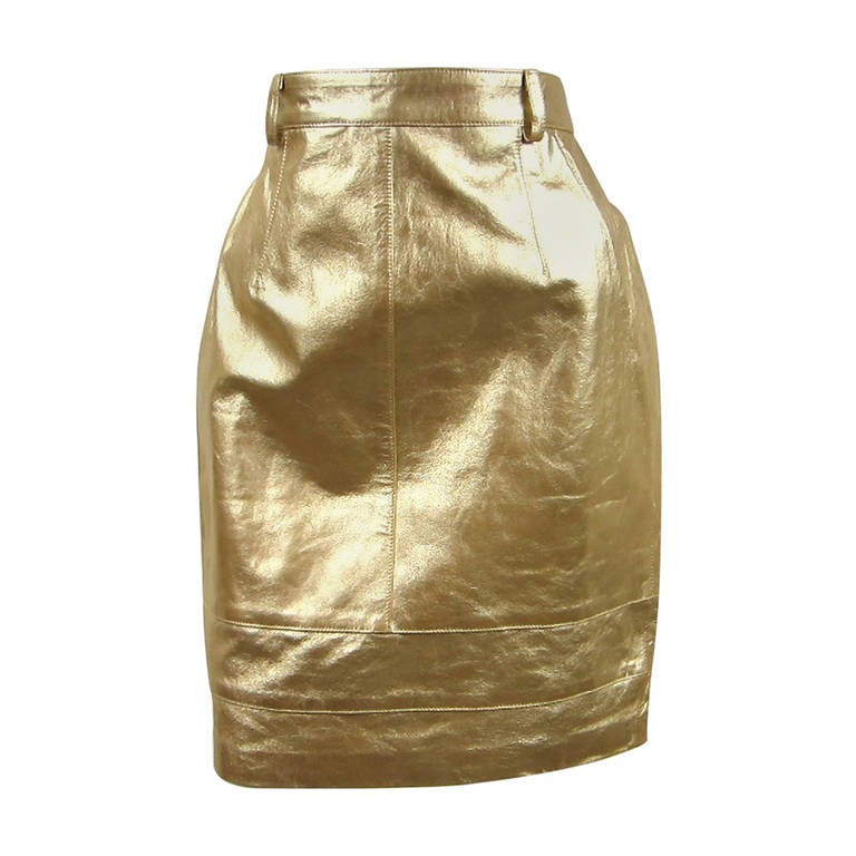gold escada leather skirt new stock 1980s at 1stdibs