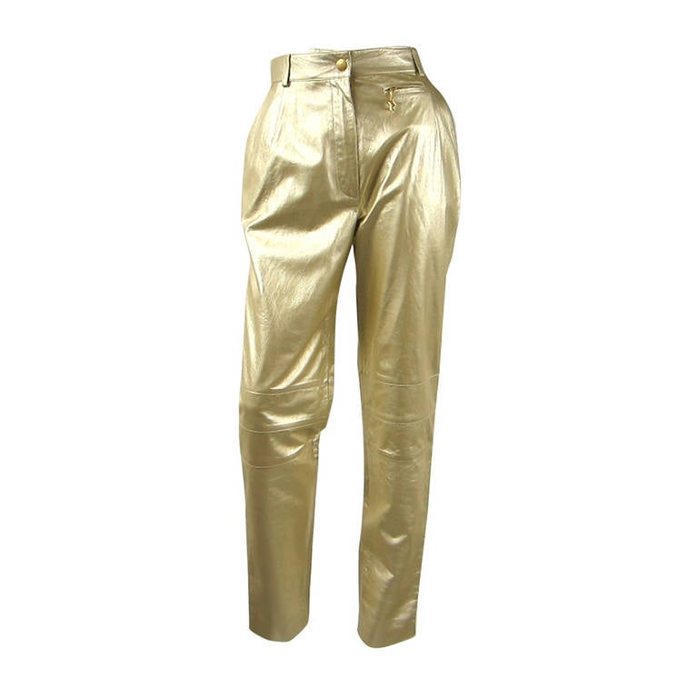 1990's Gold Escada leather Pants New Never worn