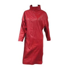 1980s Michael Hoban for North Beach Red Leather Dress