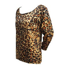 YVES SAINT LAURENT silk leopard print top - 1986