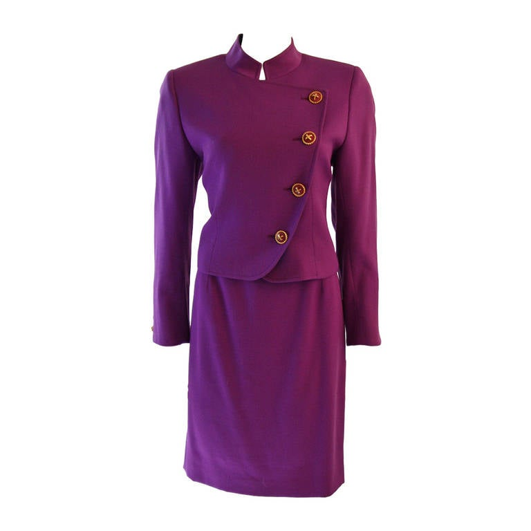 Valentino Miss V Purple Skirt Suit Size 44 10 For Sale at ...