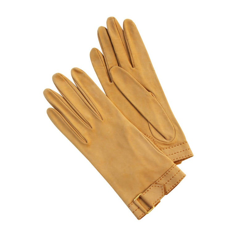 Hermes Vintage Tan Leather Gloves with Wrist Buckle Detail size 7