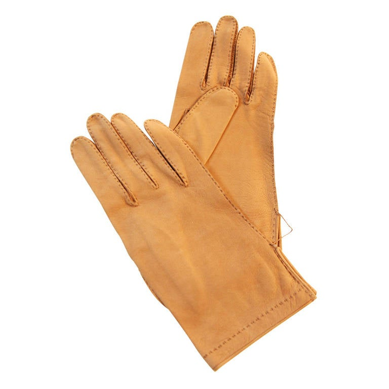 Hermes Supple Tan Leather Gloves Size 7