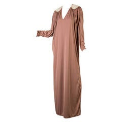 Vintage Bill Tice 1970s Light Brown and Gold Caftan with Side Slit
