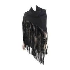 Hermes Black Cashmere Shawl with Leather Fringe