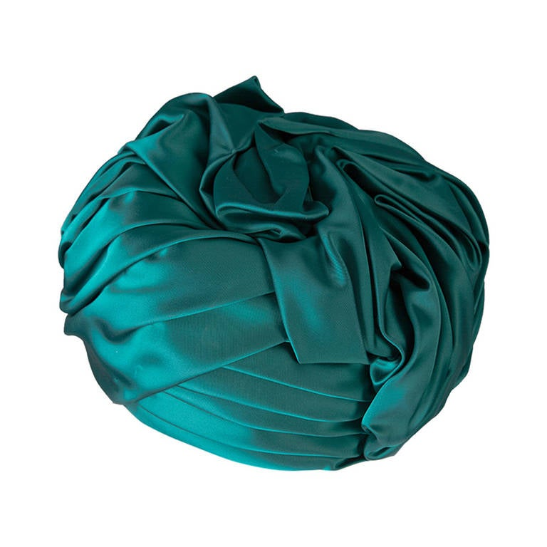 1960s Christian Dior Emerald Green Silk Satin Turban Hat