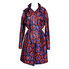 New VERSACE Textured Jacquard Trench Coat with Hood