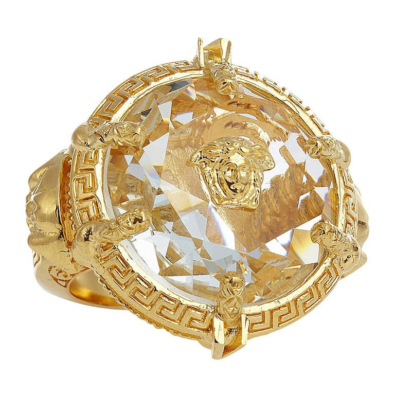 new versace oversized gold plated ring at 1stdibs
