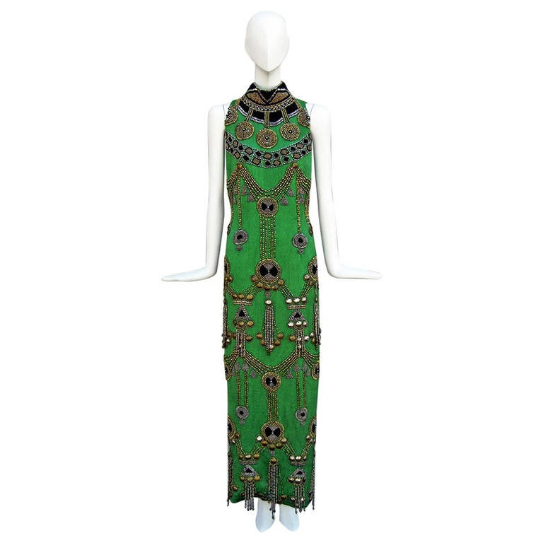 Very Rare 1990 Versace Atelier Egyptian Style Extensive Beaded Gown