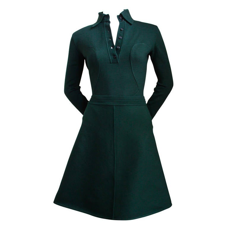 1990u0027s azzedine alaia forest green seamed bodysuit and aline skirt 1
