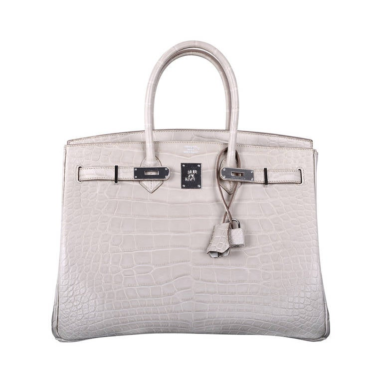 used hermes bag - HERMES BIRKIN BAG 35cm BETON MATTE ALLIGATOR WITH PALLADIUM ...