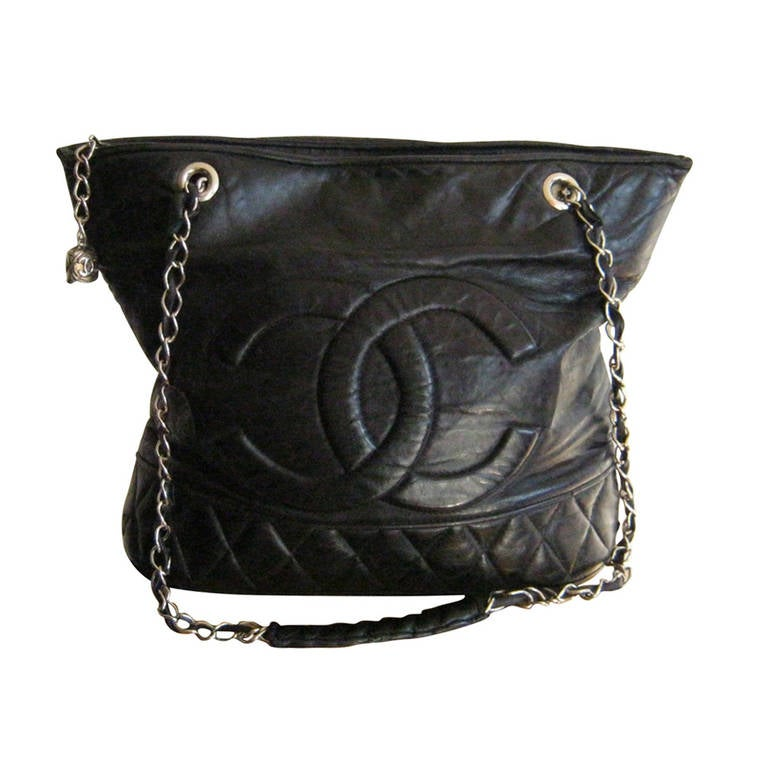 e44853b35dd185 Vintage Chanel Leather Tote - Has Character at 1stdibs