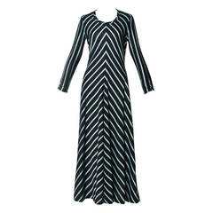 Mam'selle Vintage 1970s 70s Long Blue + Black Chevron Striped Maxi Dress