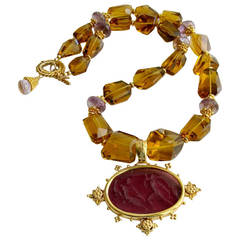 Faceted Citrine Ametrine Intaglio Choker Necklace
