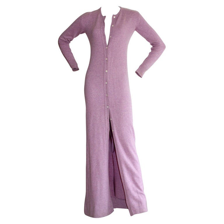 Vintage Halston Lilac Purple Cashmere Cardigan Dress at 1stdibs