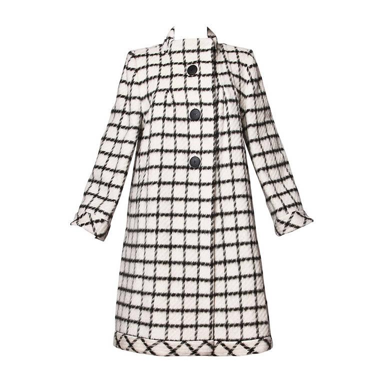 Pauline Trigere Vintage Black + White Wool Window Pane Mod Swing Coat 1
