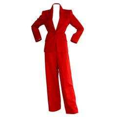 Isaac Mizrahi Vintage Lipstick Red Holiday Le Smoking Suit