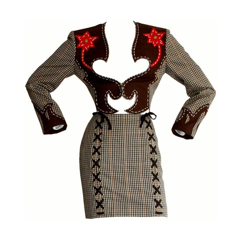 Rare Vintage Moschino Cheap & Chic Western Cowgirl Houndstooth Lace Suit 1