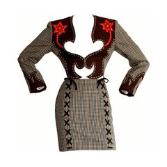 Rare Vintage Moschino Cheap & Chic Western Cowgirl Houndstooth Lace Suit