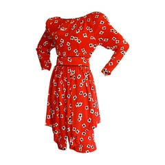 James Galanos Vintage Red Poppy Print Belted Silk Dress