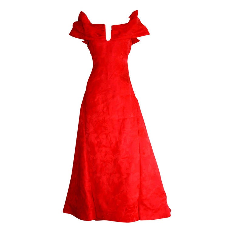 e5de618d76 Arnold Scassi Vintage Size 8   10 Bright Lipstick Red Silk Ball Gown Dress  For Sale