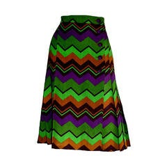 Yves Saint Laurent Vintage Rive Gauche Chevron Print Pleated Skirt