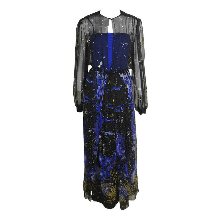 Orrier 1980s Celestial Chiffon and Lamé Gown Ensemble 1