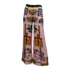 Whimsical Carnival Print Silk Pants