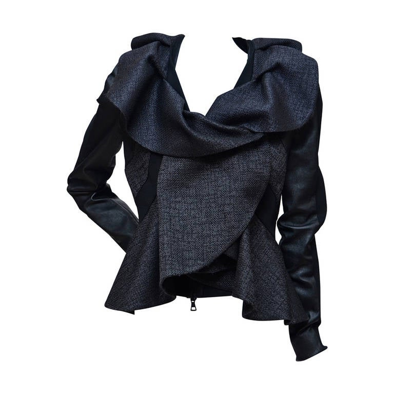 Valentino Leather And Tweed Ruffled Jacket New For Sale