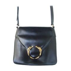 GUCCI Ebony Leather Equestrian Emblem Handbag
