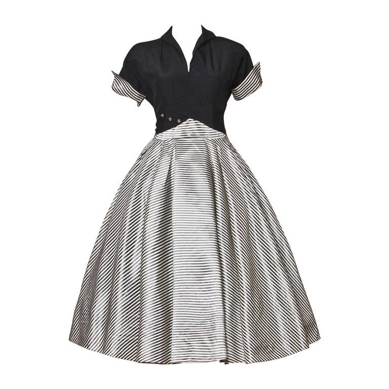 Vintage 1940s 40s Black + White Striped Taffeta Full Sweep Party Dress 1