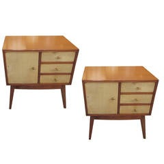 Pair of Italian Mid-Century Modern Parchment Nightstands