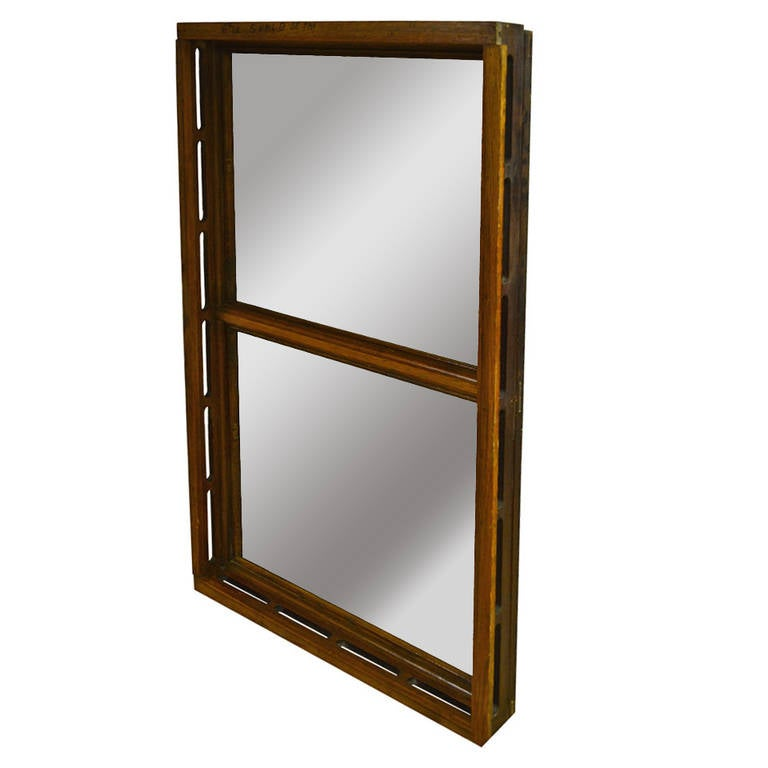 Early 1900s Oak Skylight Frame from Wisconsin State Capitol as Floor Mirror For Sale