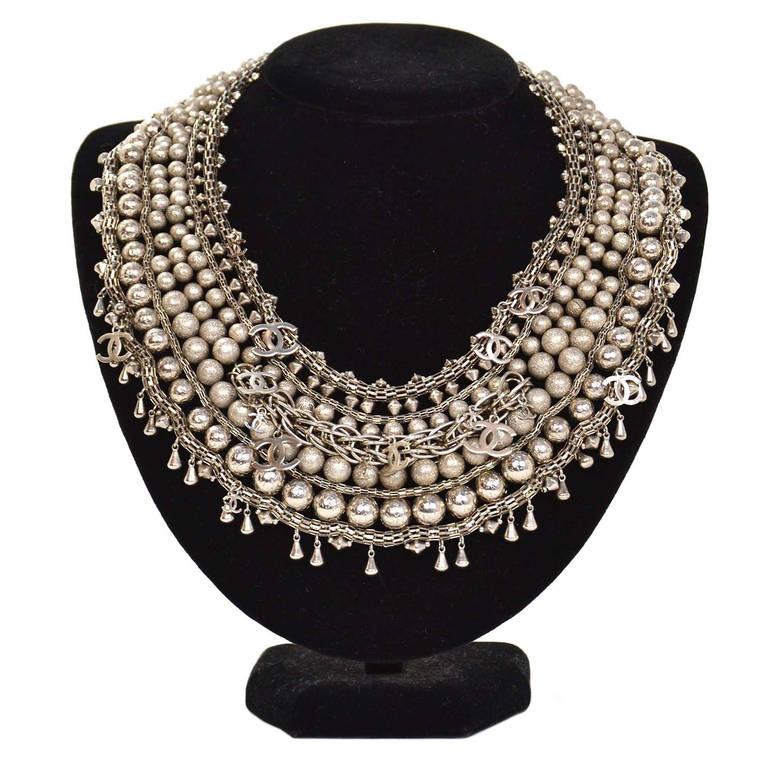 Chanel 2012 Paris Bombay Silvertone Beaded CC Necklace rt. $8,500 2