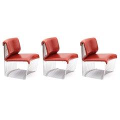 Verner Panton for Fritz Hansen Red 1970s Pantonova Chairs