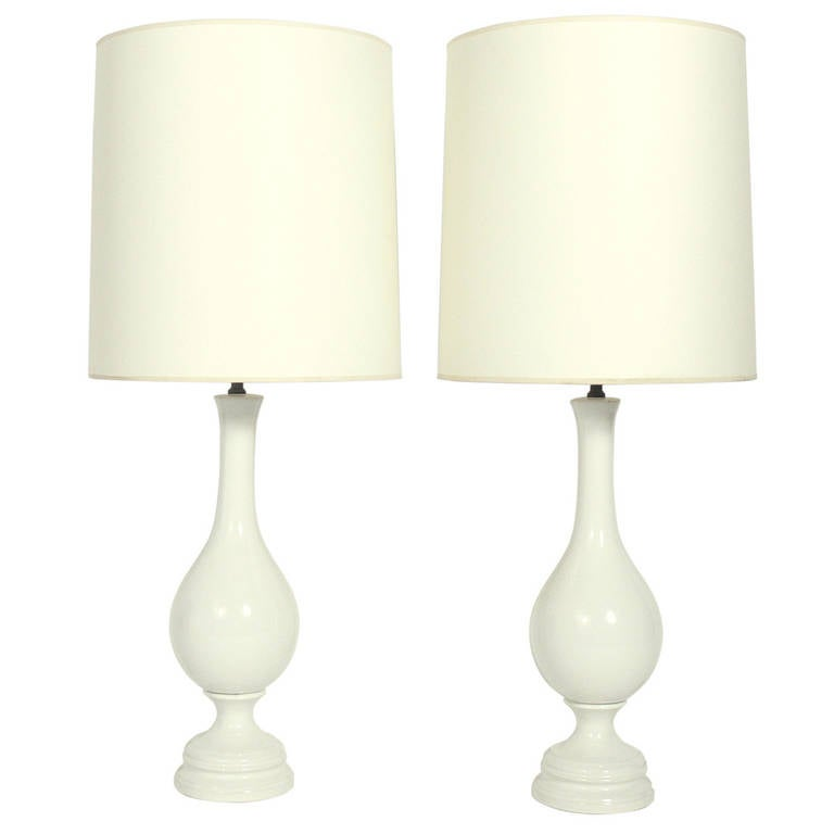 Pair of Tall White Ceramic Lamps