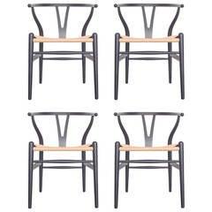 Set of Four Hans Wegner Wishbone Chairs, CH24