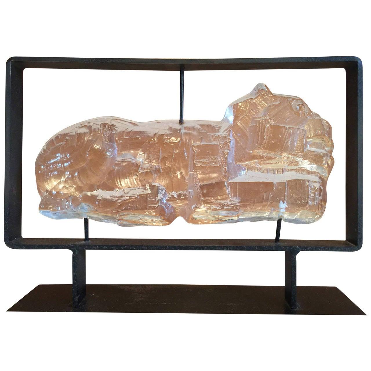 Erik höglund kosta boda glass sculpture in metal frame at
