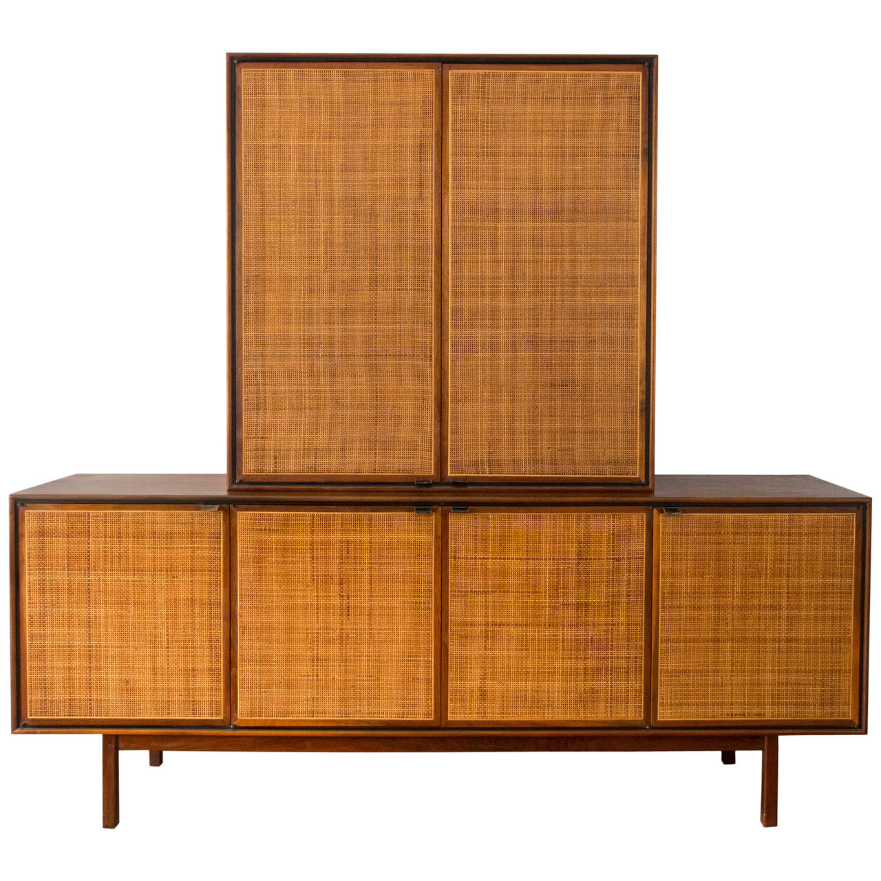 High Quality Florence Knoll Attributed Founders Walnut Cane Credenza Cabinet 1