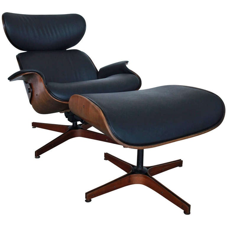 Mr Chair By George Mulhauser for Plycraft Black Lounge Chair and Ottoman at