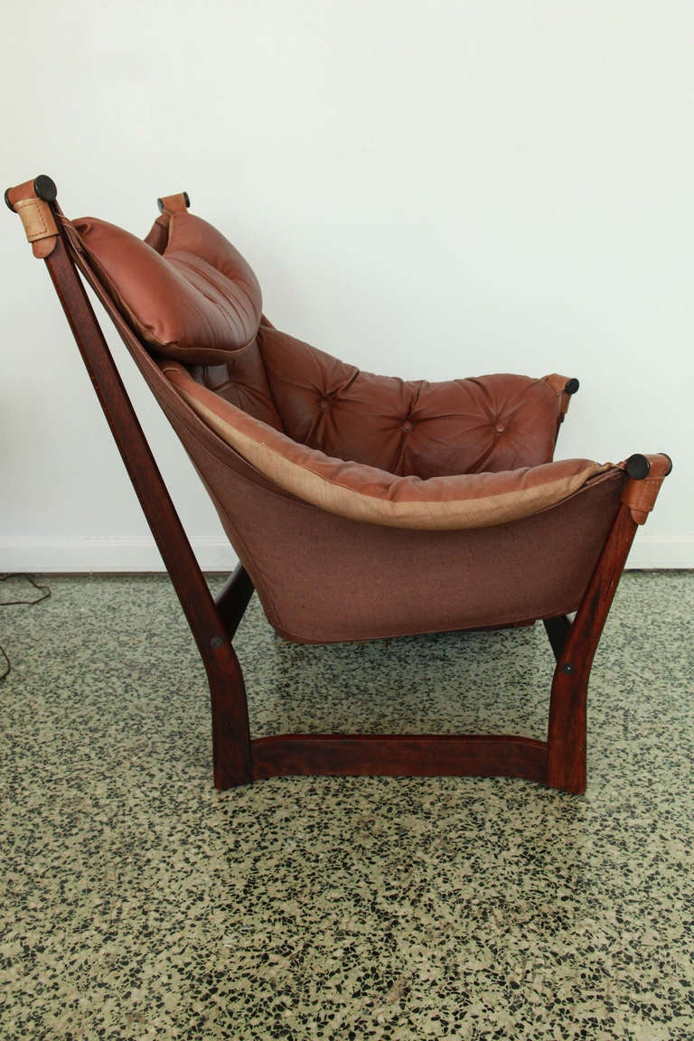 ingmar relling for westnofa brown leather sling lounge chair image 2