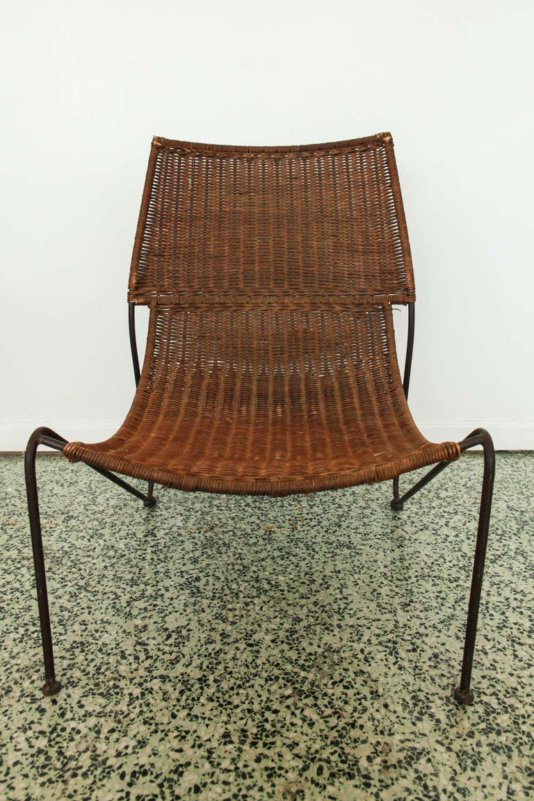 Pair Frederick Weinberg Iron And Wicker Sling Chairs At