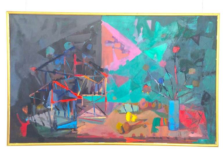 Large Mid-Century abstract painting by Miquel Ibarz. Spanish artist 1920-1987.